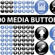 100 media buttons — Stock Vector