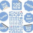 100 blue stickers - Stock Vector