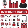 Stock Vector: Internet radio signs