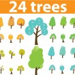 Trees cute signs, vector — Stock Vector