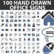 100 simple hand drawn signs — Stock Vector