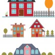 Cute family buildings set — Stock Vector