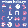 Winter holidays cute signs — Stock Vector