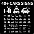 Stock Vector: 40 cars signs