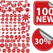 100 red shopping stickers — Stock Vector