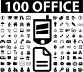100 black office signs, vector — Stock Vector