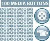 100 media blue buttons — Stock Vector