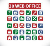 30 web office buttons — Stock Vector