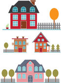 Cute family buildings set — Stock Vector