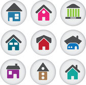 Cute buildings glossy buttons — Stock Vector