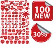 100 pegatinas rojas comerciales — Vector de stock