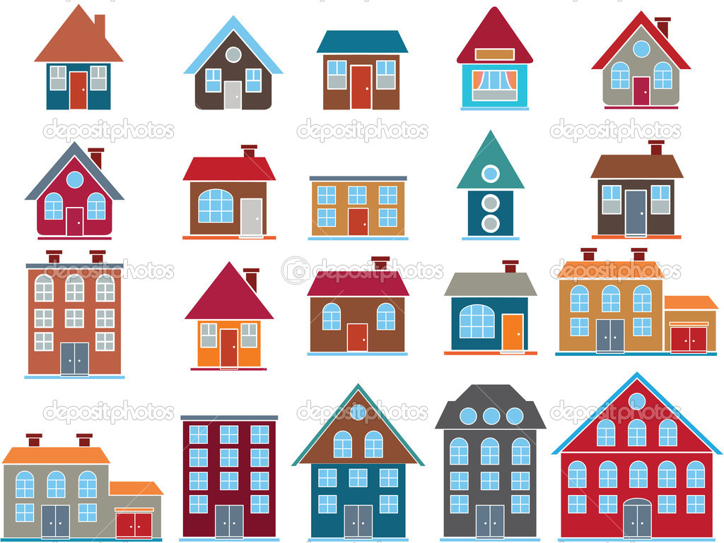 20 cute top buildings, vector — Stock Vector #5025100