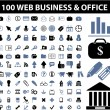 100 web, business signs — Stock Vector