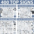 400 top signs — Stok Vektör