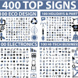 400 top signs - Stockvectorbeeld