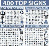400 top signs — Vector de stock