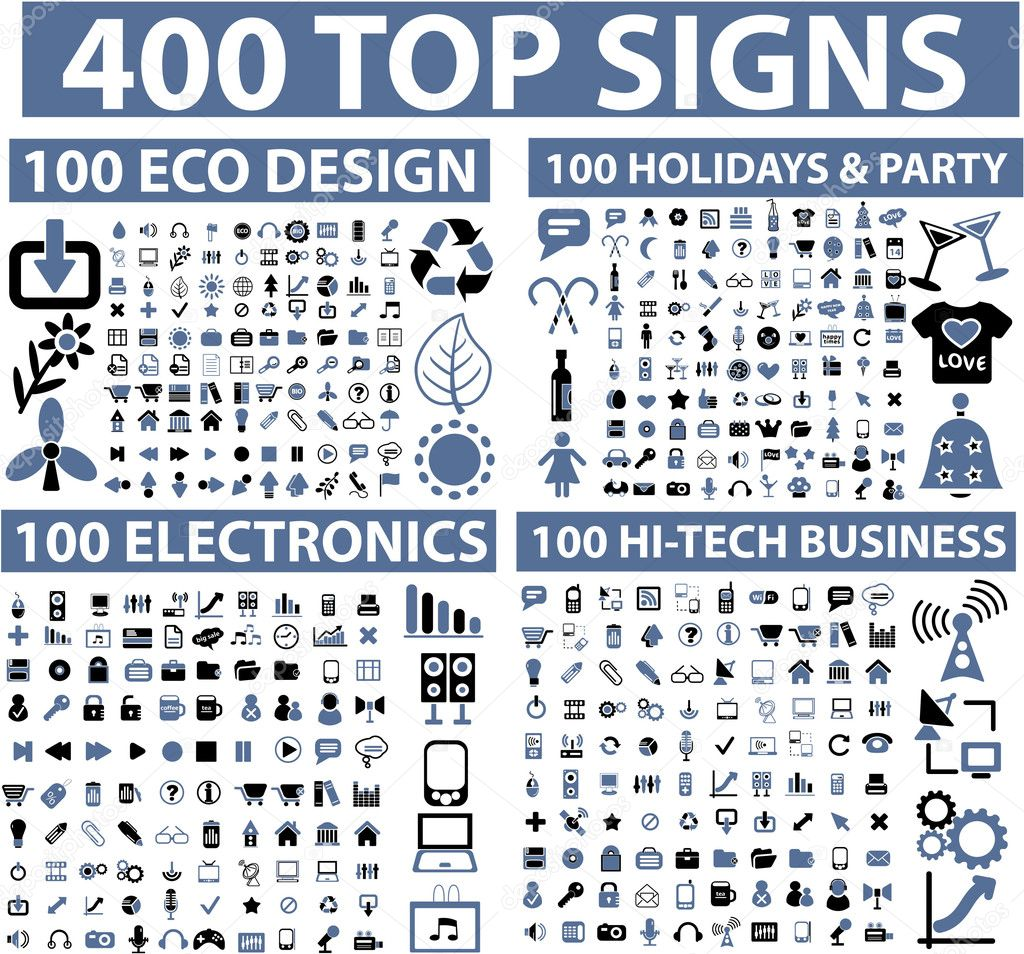 400 top signs  — Grafika wektorowa #5170425