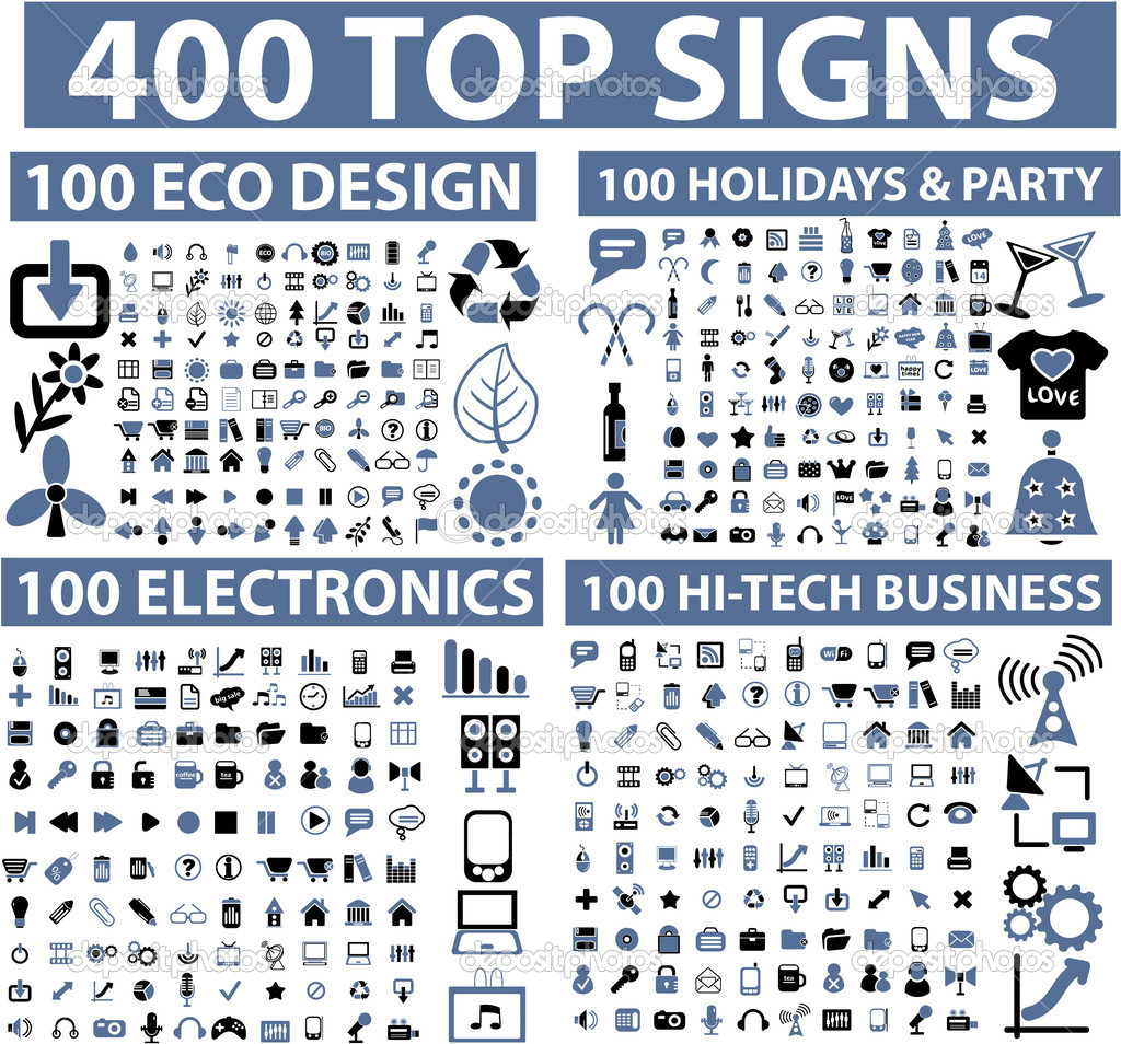 400 top signs  — Stockvectorbeeld #5170425