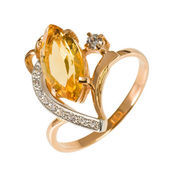 Golden ring with stones — Stock Photo