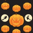 Pumpkins Icon Set — Stock Vector