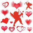 Vector set of hearts and cupid — Stock Vector