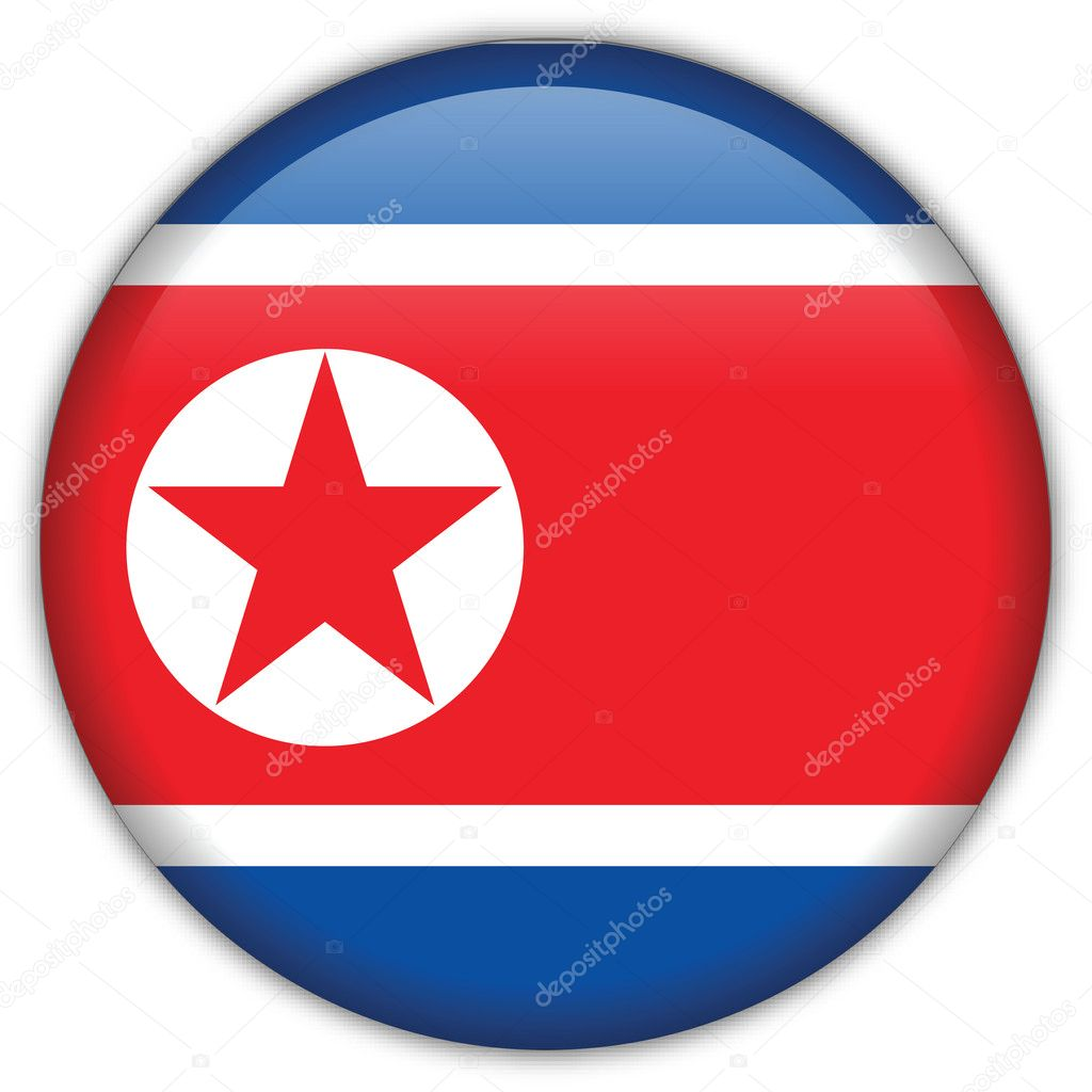 Korea North flag icon, button with official coloring — Stock Vector #5100656