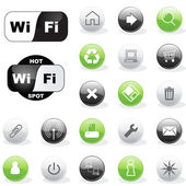 Web icons and wi-fi symbols — Stock Vector