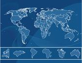 Kaart van de wereld — Stockvector