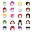 Set of cartoon heads with different hairstyles — Stock Vector