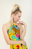 Lady in multicolor dress — Stock Photo