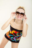 Lady in multicolor costume — Stock Photo
