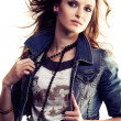 Girl in jeans jacket - Stock Photo