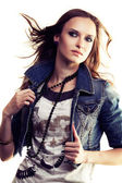Girl in jeans jacket — Stock Photo
