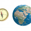 Compass and globe — Stockfoto