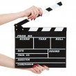 Cinema clapboard in female hands — Stock Photo #5099341