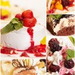 Collage from five delicious desserts — Stock Photo #5099403