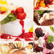 Collage from five delicious desserts - Stock Photo