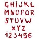 İngilizce alfabe kırmızı boya ile boyanmış — Stok fotoğraf #5099440