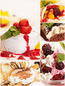 Collage from five delicious desserts — Stock Photo