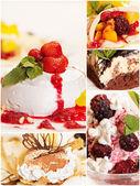 Collage aus fünf leckere desserts — Stockfoto