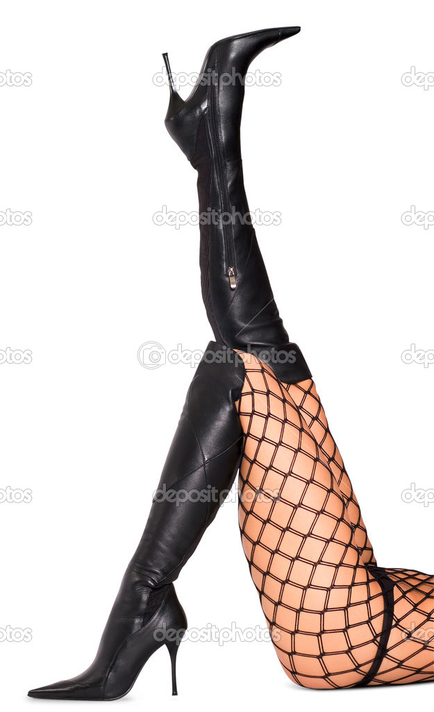 Sexy woman legs in black shoes isolated on white background — Stock Photo #5099682