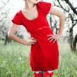 Beautiful model in red dress — Stock Photo #5156768