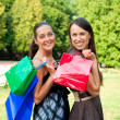 Two pretty women with bags - Stock Photo