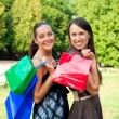 Stock Photo: Two pretty women with bags