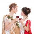 Stock Photo: Couple in greek style with wine