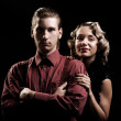 Portrait of young couple in retro style — Stock Photo