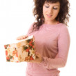 Girl opening the gift box — Stockfoto