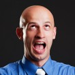 Screaming bald man — Stock Photo #5157489