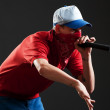 Rapper with microphone — Stock Photo