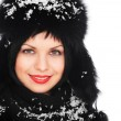Woman in fur hat covered with snow — Stock Photo
